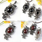 1pc Retro Oval Resin Crystal Bead Night Owl Charms Pendant Fit Necklace Chain