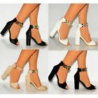 LADIES WOMENS GOLD METAL ANKLE CUFF STRAP STRAPPY SANDALS HIGH HEELS SHOES SIZE