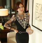 HOT Fashion Women Lace Long Sleeve Floral Shirt Tops Casual Blouse smock T-shirt