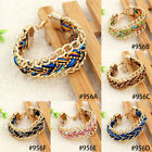 1X Fashion Boho Style Rope Weave Bracelet Womans Gold Tone Chain  Metal Bangle