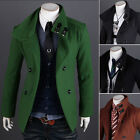 2014 TOP Men's Wool Double Breasted Military Trench Coat Peacoat Jacket Overcoat