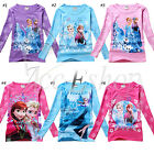 Toddler Girls Dress Frozen Elsa Anna Long Sleeve Tops T-Shirts Kids 2T-6 Clothes