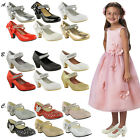 Bridesmaid Sandals Childrens High Mid Heel Diamante Party Shoes Size