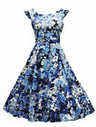 New Ladies VTG 1940's 50's style Blue Floral Rockabilly Pin-up Tea Swing Dress