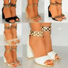 WOMENS GOLD METAL CHAINS ANKLE CUFF STRAP STRAPPY SANDALS HIGH HEELS SHOES SIZE