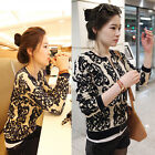 Girl Jacquard shawl cardigan jacket Coat Lady's Zipper Knitwear Women