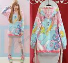 Womens Lolita My Little Pony Macaron Sailor Moon Loose Hoodie Sweat Harajuku New