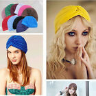 Indian Cap Pleated Head Wrap Turban Stretchy Band Hat Cloche Chemo Hijab NEW L56