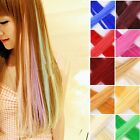 "20"" Hair Extension Neon Long Clip Wip Fashion Shiny Rainbow Cosplay Women Cool Q"
