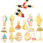 5PCs Gold Plated Charms Pendants Alloy Enamel Jewelry Making