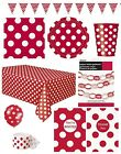 RUBY RED POLKA DOT Partyware Range (SPOTS) Tableware Balloons & Decorations
