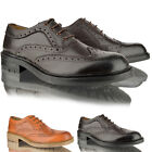 Mens lambretta smart casual leather lace up brogue office work black shoes size