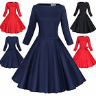Maggie Tang 3/4 Sleeve 50s VTG Pinup Hepburn Rockabilly Party Swing Dress 551