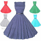 Maggie Tang 50s VTG Hepburn Rockabilly Polka Dots Pinup Party Swing Dress S-533