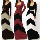 CHEVRON COLOR BLOCKED LONG SLEEVE EMPIRE WAISTED JERSEY MAXI DRESS S M L ItS7