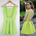 Newest Womens Slim Fit Bubble Ruffle Frill Flared Skater Ball Gown Pleated Dress