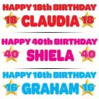 """PERSONALISED BIRTHDAY BANNER 3ft - 36 """"x 11"""" 1st 18th 21st 30th 40th  GOLD STAR"""
