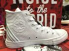 Converse Chuck Taylor All Star White Leather Triple Back Zip Women Shoes 547205C