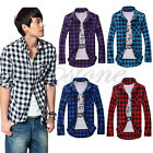 Hot Fashion Mens Slim Fit Casual Dress Plaid Check Shirt Korean Style 5 Colors
