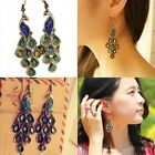Fashion Vintage Womens Bohemia Peacock Earrings Rhinestone Crystal Eardrop Hook