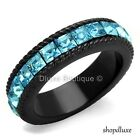 3.95 CT PRINCESS CUT AQUA CZ BLACK STAINLESS STEEL ETERNITY RING WOMEN'S SZ 5-10