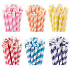 25/50/100x Biodegradable Paper Drinking Straws Striped Birthday Wedding Party