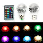 1/2/4 x E27 B22 RGB 5W Colour Changing Dimmable LED Bulbs Lights Lamps + Remote