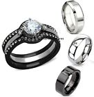 His & Hers 4 Piece Black Stainless Steel Wedding Engagement Bridal Ring Band Set