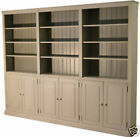 Solid Pine Bookcase, Painted  7ft Tall Library Shelving Display Unit with Doors