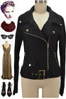 ROCKIN Pinup CHARCOAL Black WoolBlend MOTORCYCLE Jacket w/Asymm ZIPPER & Pockets