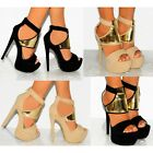 WOMENS FAUX SUEDE GOLD STRAPPY SANDALS ANKLE CUFF HIGH HEELS SHOES SIZE
