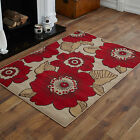 LARGE EXTRA LARGE MEDIUM MODERN SMALL BEIGE RED FLOWER PATTERN DESIGN CHEAP RUGS