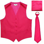 New Men's hot pink formal vest Tuxedo Waistcoat pre-tied nec