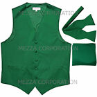 New Men's emerald green vest Tuxedo Waistcoat self tie bow tie and hankie set