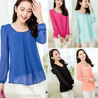 Korean Spring Slim Women's Loose Chiffon Tops Long Sleeve Shirt Casual Blouse