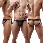Hot Sexy Mens Underwear Faux Leather Jockstrap Thongs&G-string Underpants T-back