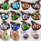 Dichroic Foil Lampwork Glass Flower Inside Heart Pendant Bead Jewelry Charms DIY