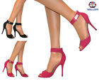 WOMENS LADIES STRAPPY STILETTO HEEL SANDALS ANKLE STRAP CUFF PEEP TOE SHOE