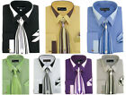 size 15 shirt - Men's French Cuff Dress Shirt with Tie and Handkerchief 7 Colors Size 15~20 MS34