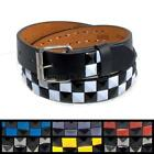Kids 2-Row Checkered Pyramid Studded Leather Belt Tone Snap Unisex Boys Girls
