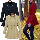 Hot Womens Double-breasted Cashmere Coat Warm Slim Ruffle Parka Jacket Tops