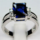 Unique Jewelry Nice Ring sapphire lady's 10KT white Gold Plus Size Fabulous