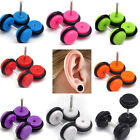 1Pair Color Acrylic Fake Cheater Ear Plugs Gauge Illusion Body Jewelry Pierceing