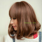 100% Real hair! 2 Color New Fashion sexy women's Short Brown Human Hair wigs
