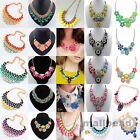 New Women Chain Chunky Choker Statement  Pendant Crystal Jewelry Bib Necklace
