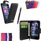 FLIP WALLET CASE POUCH PU LEATHER COVER FOR NOKIA LUMIA 630,635 + SP+ PEN