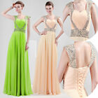 Stock Long BEADED Prom Formal Gown Women Sexy Wedding Evening Party Maxi Dresses