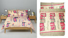 DUVET QUILT COVER & PILLOWCASE BEDDING BED SET WELCOME LONDON PARIS VINTAGE