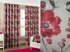 Tokyo Modern Floral Heavy Cotton Eyelet Ring Top Lined Curtains Poppy Red