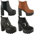 WOMENS LADIES CHUNKY BLOCK HEEL PLATFORM CLEATED SOLE BIKER ANKLE BOOTS SHOES